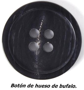 Botón de hueso de bufalo.